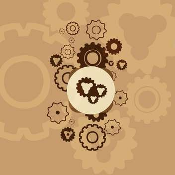 Abstract mechanical brown background with gears - vector gratuit #127153