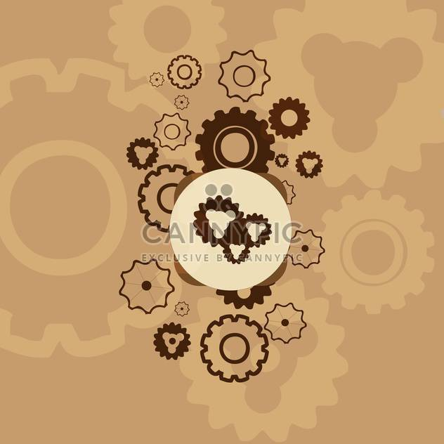Abstract mechanical brown background with gears - Free vector #127153