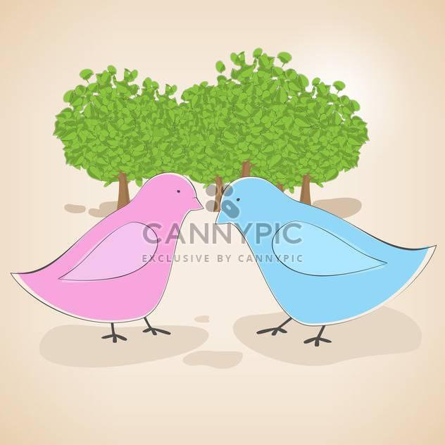 Vektor-Illustration von Vögel paar verliebt auf rosa Hintergrund - Kostenloses vector #127163