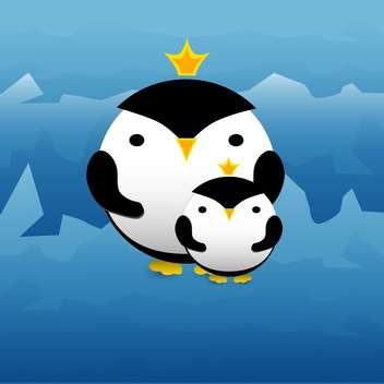 Vector illustration of cute penguins with crowns on blue background - Free vector #127253