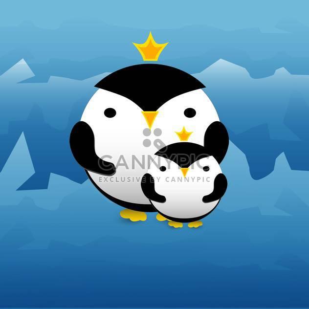 Vektor-Illustration der niedlichen Pinguine mit Kronen auf blauem Hintergrund - Kostenloses vector #127253