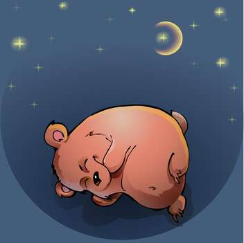colorful illustration of teddy bear sleeping under night sky - vector gratuit #127273
