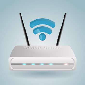 Vector illustration of wireless router on blue background - vector gratuit #127313