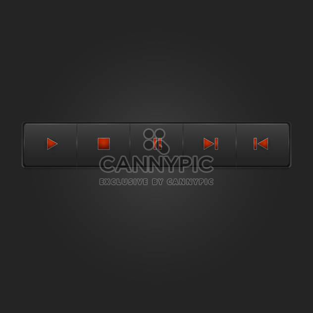 Vector set of media buttons on black background - Free vector #127323