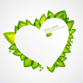 Abstract plant icon with green heart shaped element on white background - vector gratuit #127333