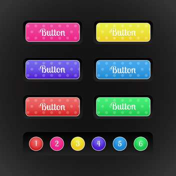 vector buttons with special colored icons and numbers on black background - vector #127383 gratis