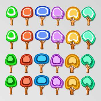 vector icon set of colorful trees on grey background - vector gratuit(e) #127443