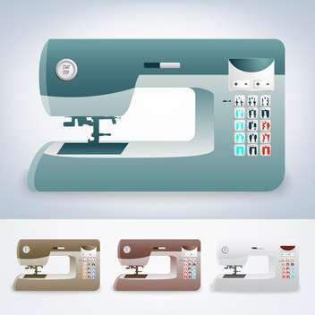 vector collection of modern sewing machines on grey background - бесплатный vector #127483