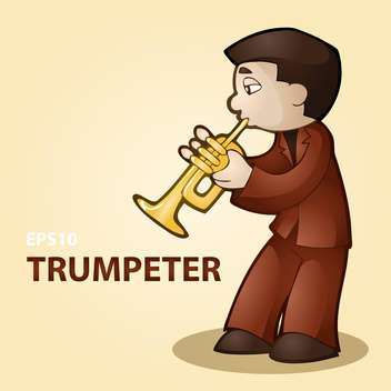 Vector illustration of male trumpeter on beige background - бесплатный vector #127543