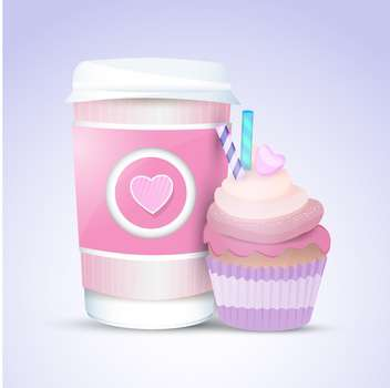 Vector cupcake and coffee for valentines day - бесплатный vector #127553