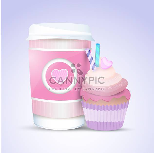 Vector cupcake and coffee for valentines day - Free vector #127553