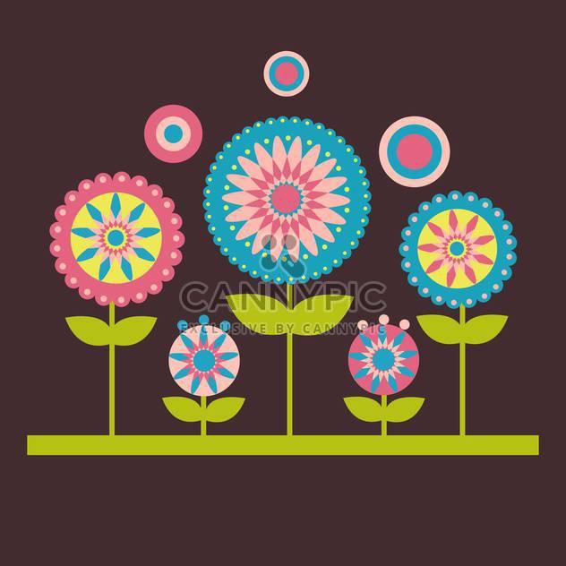 Vector illustration of flowers on dark background - Free vector #127583