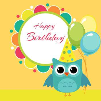 Vector birthday party card with owl and balloons - vector gratuit #127623