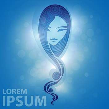 young woman face on blue background - vector gratuit(e) #127683