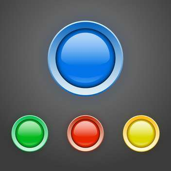 Vector set of colorful buttons on dark grey background - Free vector #127733