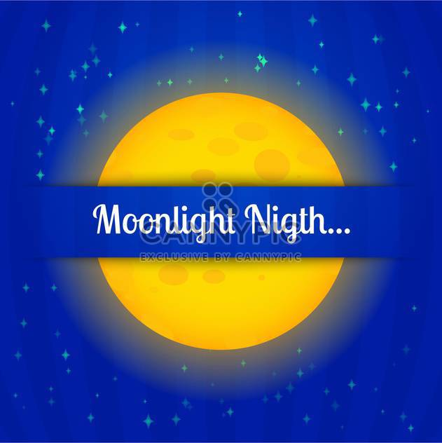 colorful illustration of big yellow moon on blue night sky - Free vector #127753