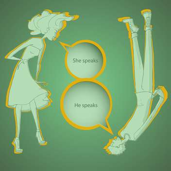 Boy and girl talking with speech bubbles on green background - vector #127793 gratis