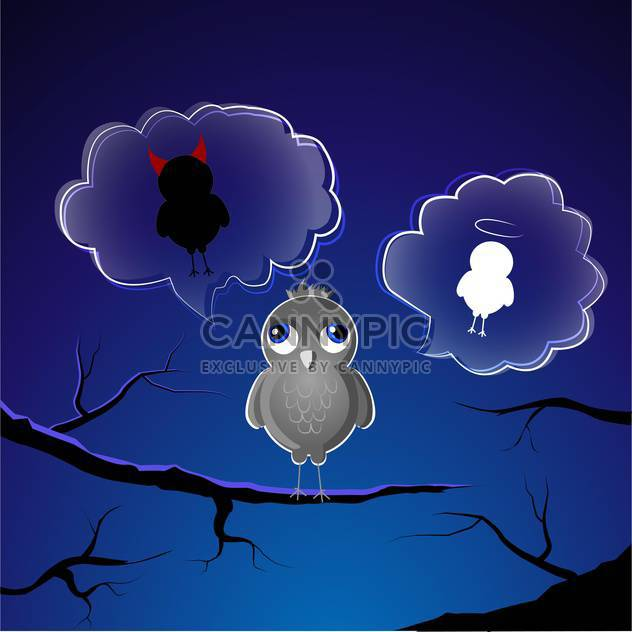 Funny little sparrow on branch choose good or evil side - Free vector #127843