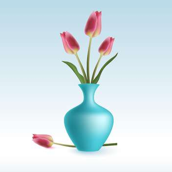 Vector illustration of cute pink tulips in vase on blue background - vector gratuit(e) #127853