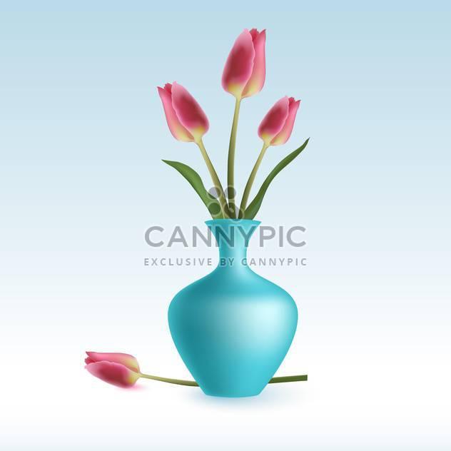 Vektor-Illustration von niedlichen Rosa Tulpen in Vase auf blauem Hintergrund - Kostenloses vector #127853