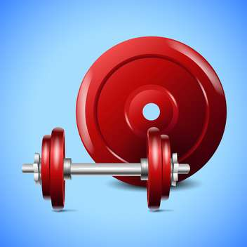 red dumbells on blue background - vector gratuit #127993
