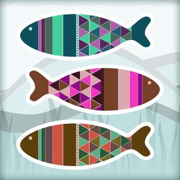 Ornamental colorful aquarium fish set - vector gratuit #128013