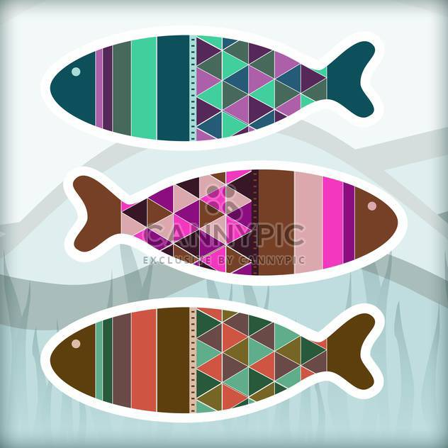 Ornamental colorful aquarium fish set - Free vector #128013
