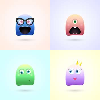 Cute funny colorful demon monsters - бесплатный vector #128023