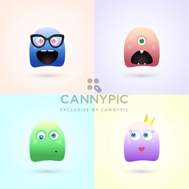 Cute funny colorful demon monsters - Free vector #128023