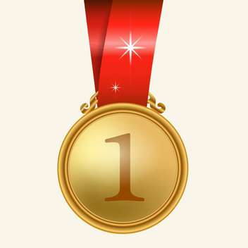 Vector illustration of gold medal with red ribbon on white background - Free vector #128033