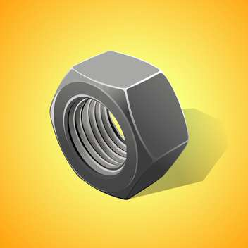 Metal nut vector illustration, on a yellow background - vector gratuit #128193