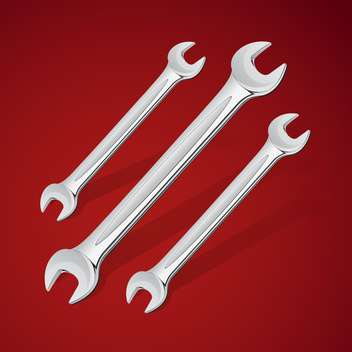 hand wrench tools vector icons, on red background - Free vector #128203