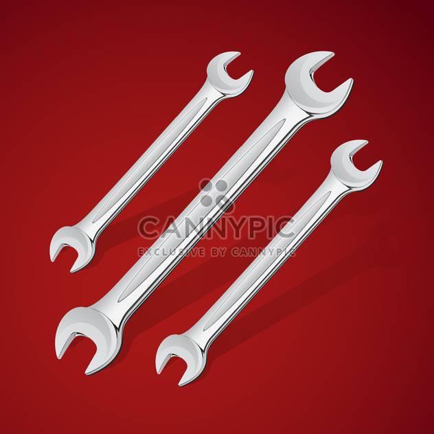 Schraubenschlüssel Handwerkzeuge Vektor-Icons, auf rotem Hintergrund - Free vector #128203