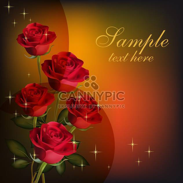 Beauty red roses on valentine's day card with place for text - Free vector #128313