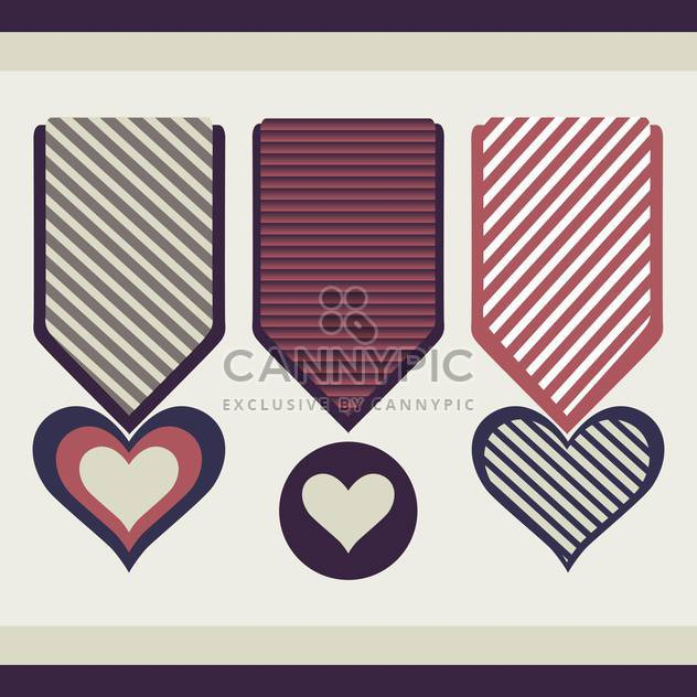 Heart form vector medals - Free vector #128373