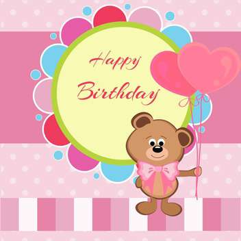 Happy birthday card with teddy bear and heart shaped balloons - бесплатный vector #128513