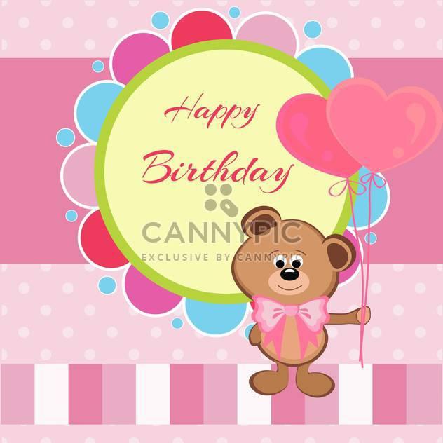 Alles Gute zum Geburtstag-Karte mit Teddybär und herzförmige Ballons - Free vector #128513