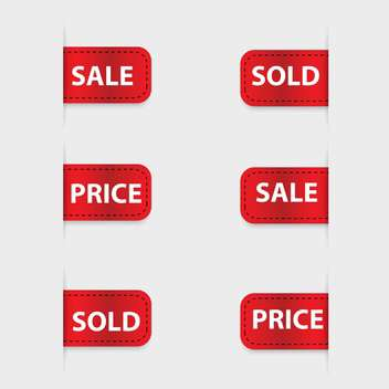 Vector set of red discount labels - vector gratuit #128623