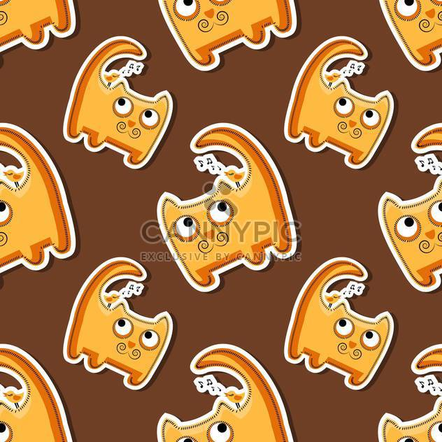 Vector seamless pattern with cute orange cats - Free vector #128653