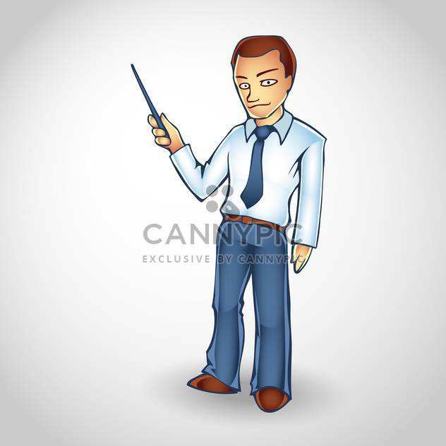 Cartoon business man points upwards with pointer on copy space - Free vector #128703