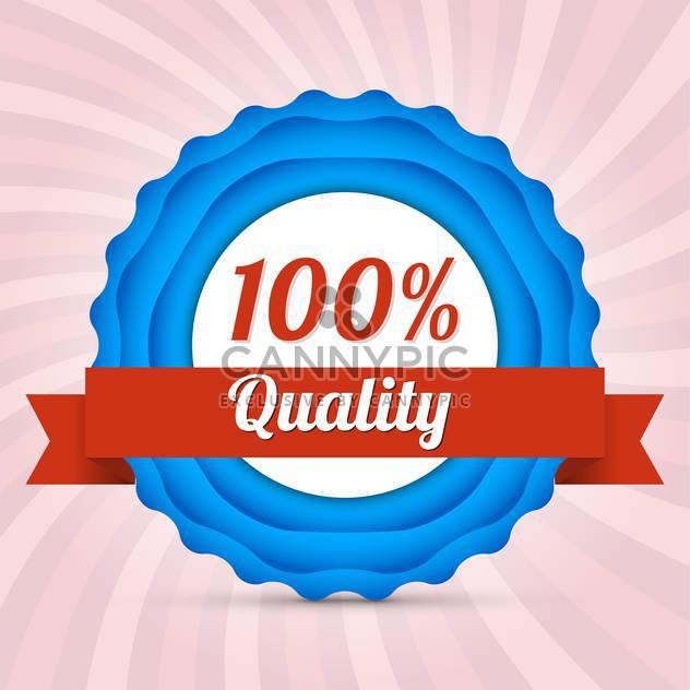 Vector badge of hundred percent quality - Free vector #128803