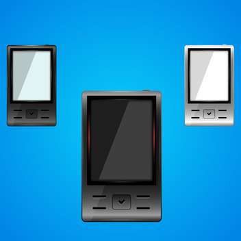 Vector set of smartphones on blue background - vector gratuit(e) #128833