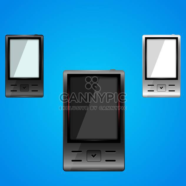 Vector set of smartphones on blue background - Free vector #128833