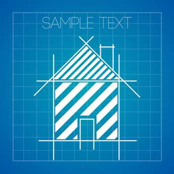 Vector background with house plan on blueprint - vector gratuit #128883