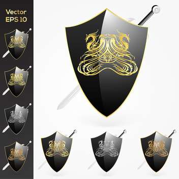 Vector set of sword an shield with coat of arms - Free vector #128913