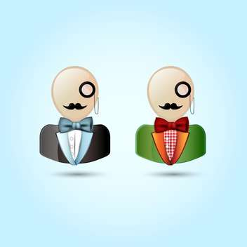Vector illustration of faces with mustaches, monocle, suits ,and a bow tie - бесплатный vector #128923