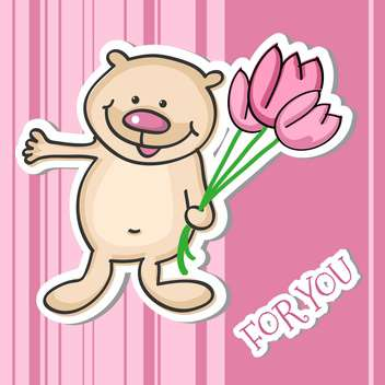 Vector illustration of cute little Teddy bear with a bouquet of flowers - бесплатный vector #128933