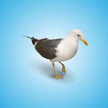 Vector illustration of seagull on a blue background - Free vector #128943