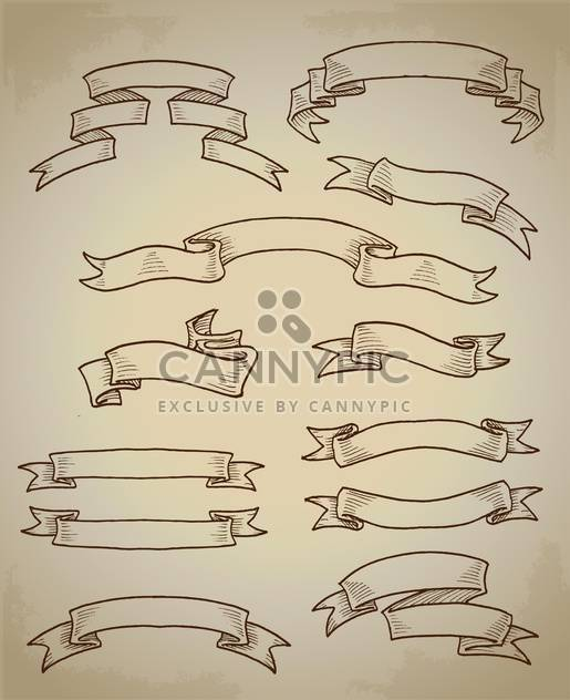 set of vector vintage ribbon banners - Free vector #129083