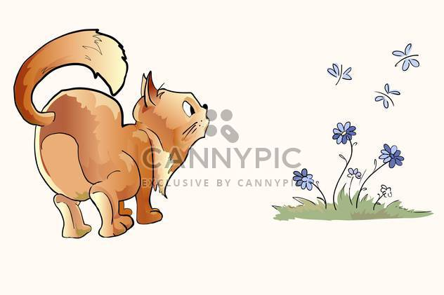 cartoon surprised cat looking at butterflies - Free vector #129203